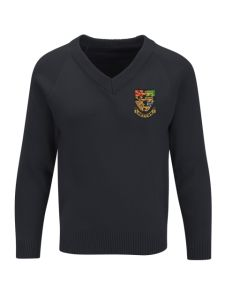 Girls Black V'Neck Knitted Jumper embroidered with the Hetton School Logo (Years 10 and 11)