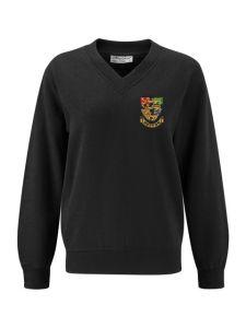 Black V'Neck Sweatshirt embroidered with the Hetton School Logo (Years 10 & 11)