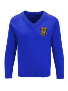 Boys Royal Blue V'Neck Knitted Jumper embroidered with the Hetton School Logo (Years 7,8 and 9)