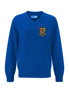 Royal Blue V'Neck Sweatshirt embroidered with the Hetton School Logo (Years 7,8 and 9)