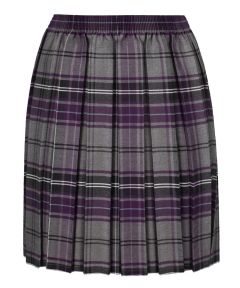 Junior Girls Skirt - Purple/Grey Tartan - for Morpeth All Saints First School