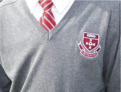 Grey V'Neck Cotton Jumper (OPTIONAL) - Embroidered with St Bede's Catholic School Logo