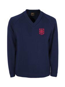 Black V'Neck Knitted Jumper with King Edward VI School Logo