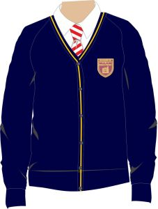Navy Cardigan - With Kings Priory School Logo