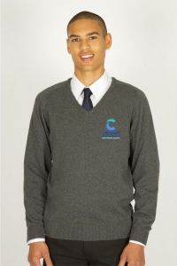 Grey V-Neck Knitted Jumper (Upper 1-6) - Embroidered with Cleaswell Hill School Logo