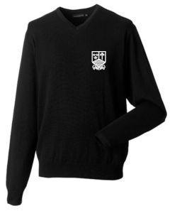 Girls Black Knitted Jumper - Embroidered with Marden High School Logo