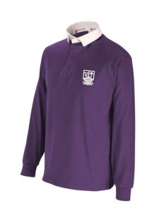 Purple Rugby Shirt - Embroidered With Marden High School Logo