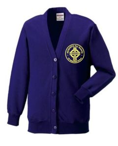 Purple Sweat Cardigan - Embroidered Morpeth All Saints C E Aided First School Logo