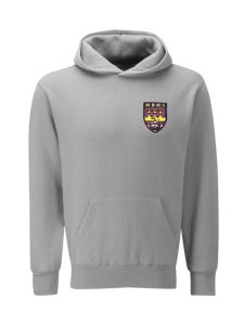 Grey Hooded (P.E.) Sweatshirt Embroidered with the Marden Bridge Middle School Logo