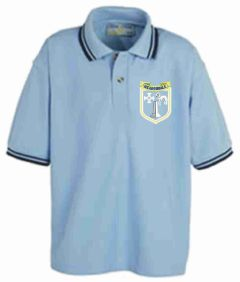 Tipped Polo (Sky/Navy) - Embroidered with Meadowdale Academy Logo