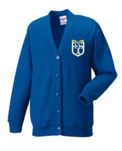Royal Cardigan with Embroidered Meadowdale Academy Logo