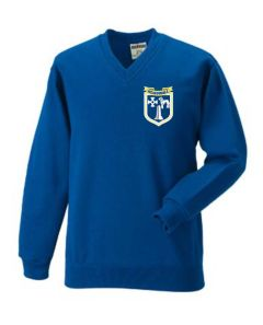 (Year 5 & 6 Only) Royal V-Neck Sweatshirt with Embroidered Meadowdale Academy Loge