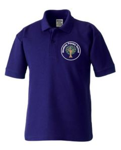 Purple Polo Shirt - Embroidered Mowbray Primary School Logo