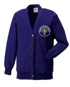 Purple Sweat Cardigan - Embroidered Mowbray Primary School Logo