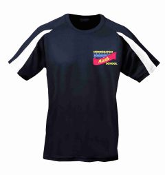 Navy/White PE T-shirt- Embroidered With Monkseaton Middle School Logo