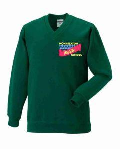 Bottle V-Neck Sweatshirt - Embroidered with Monkseaton Middle School Logo