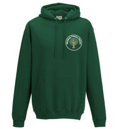 Bottle Green Hooded Sweatshirt - Embroidered White Mowbray Primary School Logo + Printed back Mowbray Primary Forest School