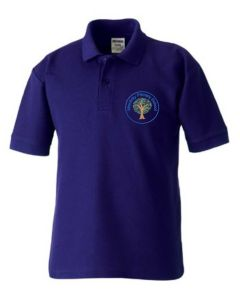Dunstanburgh (Blue) Purple Polo Shirt - Embroidered Mowbray Primary School Logo
