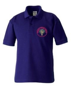 Alnwick (Red) Purple Polo Shirt - Embroidered Mowbray Primary School Logo