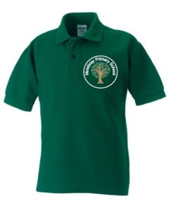 Bottle Green Classic Polo Shirt - Embroidered with White Mowbray Primary School Logo + Printed back Mowbray Primary School