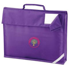 Alnwick (RED) Purple Book Bag - Embroidered with Mowbray Primary School Logo