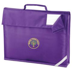 Bamburgh (Yellow) Purple Book Bag - Embroidered with Mowbray Primary School Logo
