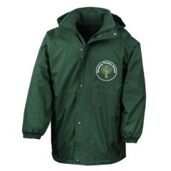 Bottle Green Stormproof Coat - Embroidered with White Mowbray Primary school printed back Mowbray Primary school
