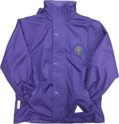 Dunstanburgh (Blue) Purple Stormproof Coat - Embroidered with Mowbray Primary School Logo