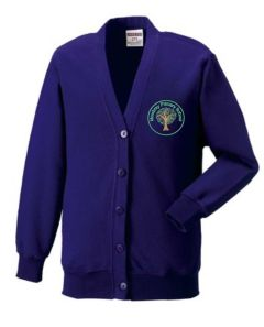 Warkworth (Green) Purple Sweat Cardigan - Embroidered Mowbray Primary School Logo