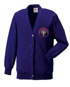 Alnwick (Red) Purple Sweat Cardigan - Embroidered Mowbray Primary School Logo