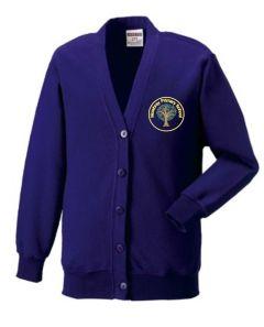 Bamburgh (Yellow) Purple Sweat Cardigan - Embroidered Mowbray Primary School Logo