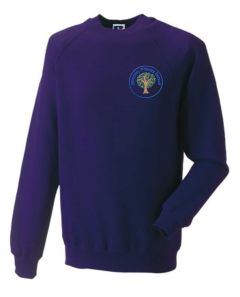 Dunstanburgh (Blue) Purple Sweatshirt - Embroidered Mowbray Primary School Logo