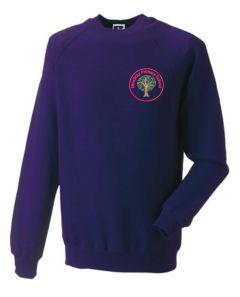 Alnwick (Red) Purple Sweatshirt - Embroidered Mowbray Primary School Logo