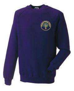 Bamburgh (Yellow) Purple Sweatshirt - Embroidered Mowbray Primary School Logo