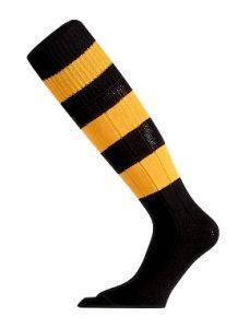 Black/Amber Hooped Football Socks (sold in Shoe Size)