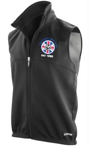 Mens Black Airflow Gilet - Embroidered with The Parks Judo Club Logo + Printed on Back