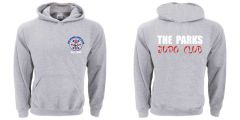 Sports Grey Hoodie - Embroidered with The Parks Judo Club logo + Printed on back