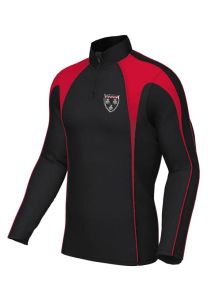 Unisex Black/Red PE Midlayer - Embroidered with Ponteland High School Logo