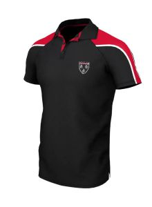 Unisex Black/Red PE Polo - Embroidered with Ponteland High School Logo