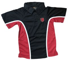 PE Polo Black/Red/White - Embroidered with Christ's College, Sunderland Logo