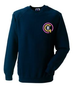 Pink Logo - Navy Sweatshirt - Embroidered with Jesmond Park Academy Logo