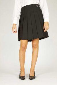 Black Junior Stitch Down Pleat Skirt (JGPB) - Embroidered with Ponteland High School Logo