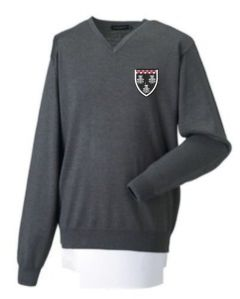Grey Jumper - Embroidered with Ponteland High School Logo