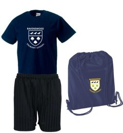 PE KIT (T-shirt, Shorts & PE Bag) - Embroidered\Printed with Ravenswood Primary School logo
