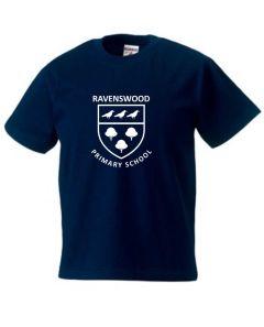 Navy PE T-Shirt  - Printed with Ravenswood Logo
