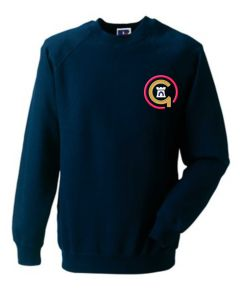 Red Logo - Navy Sweatshirt - Embroidered with Jesmond Park Academy Logo