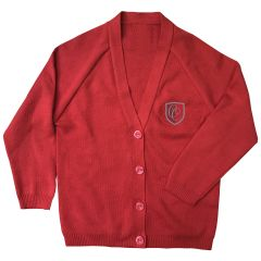 Girls Red Cardigan - Embroidered with Christ's College, Sunderland Logo (Essential for students in  Reception and Years 1-6)