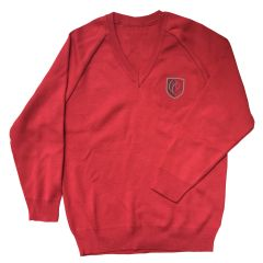 Red Jumper - Embroidered with Christ's College, Sunderland Logo (Essential for students in  Reception and Years 1-8)