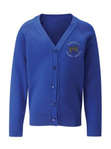 Royal Blue Cardigan Sweatshirt embroidered with the Redesdale Primary School Logo