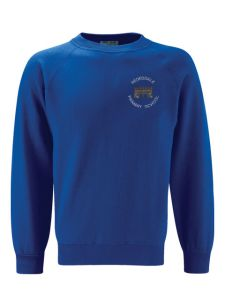 Royal Blue Crew neck Sweatshirt with embroidered Redesdale Primary School Logo